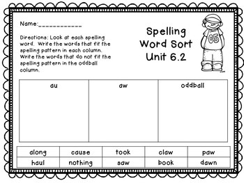 Treasures Unit 6 Spelling Word Sort {1st Grade}