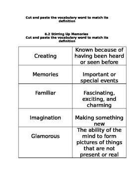 Treasures Unit 6 Vocabulary Cut and Sorts