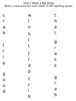 Treasures Unit One Week 4 Spelling Packet
