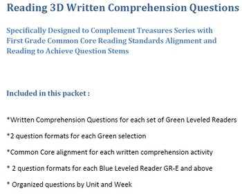 Mclass 3D Written Comp Questions for Treasures Units 1-6 Series