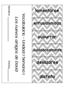 Treasures Vocabulary Flip Books {SPANISH} - 2nd grade Unit 1