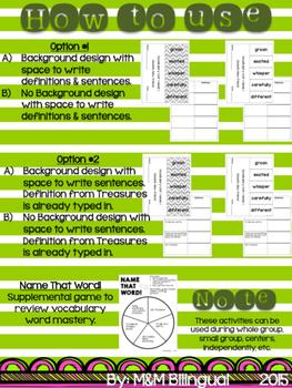 Treasures Vocabulary Flip Books {SPANISH} - 2nd grade Unit 2