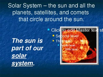 Treasures Vocabulary Power Point for The Planets in Our Solar System