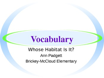 Treasures Vocabulary Power Point for Whose Habitat?