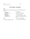 Treasures Vocabulary Supplement Unit 1 Week 1