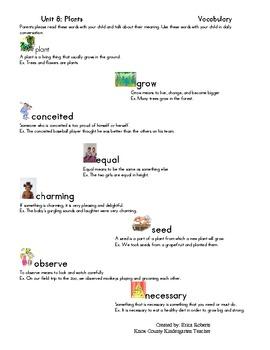 Treasures Vocabulary unit eight-plants