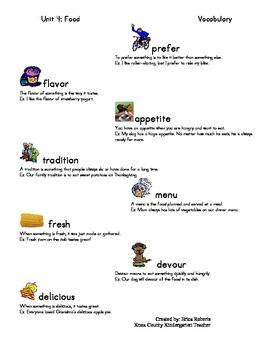 Treasures Vocabulary unit four-food