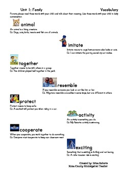Treasures Vocabulary unit one-Family