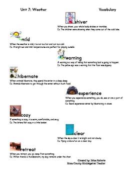 Treasures Vocabulary unit seven-weather