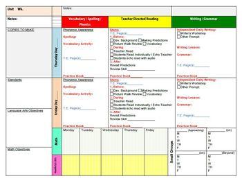Treasures Weekly Lesson Plan Template - Custom for Treasures