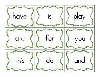 High frequency word cards (kindergarten)