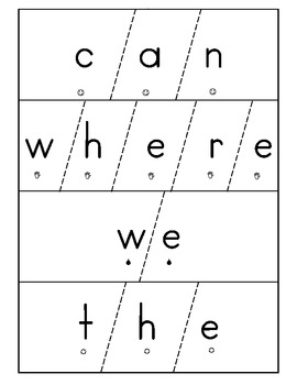 High frequency word puzzle cards (kindergarten)
