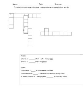 Treasures unit 2 week 4 vocabulary crossword