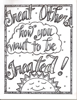 Treat Others How You Want To Be Treated Character Building Coloring Sheet
