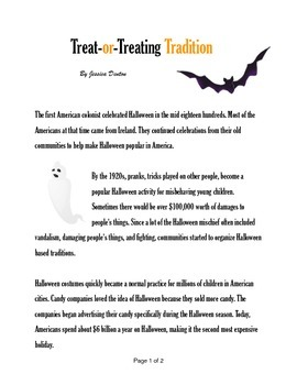 Treat-or-Treating Tradition- Informative Text