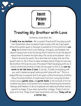 Treating My Brother with Love- Personalized Social Story Board
