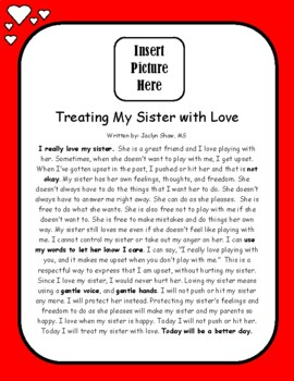 Treating My Sister with Love - Personalized Social Story Board