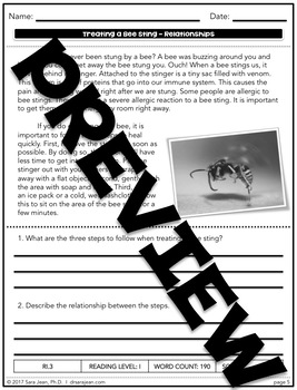 Treating a Bee Sting • Reading Comprehension Passages and Questions • RL I