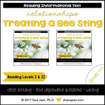 Treating a Bee Sting • Reading Comprehension Passages and Questions • RL I & II