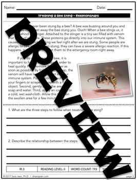 Treating a Bee Sting • Reading Comprehension Passages and Questions • RL II