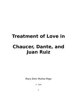 Treatment of Love in Chaucer, Dante, and Juan Ruiz