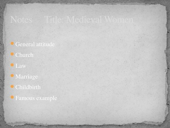 Treatment of Women in the Middle Ages or Medieval Times
