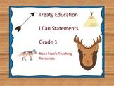Treaty Education I Can Statements - Grade 1