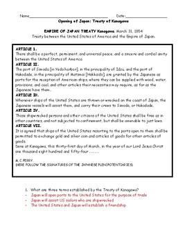 Treaty of Kanagawa (adapted): Opening of Japan Worksheet with Answer Key
