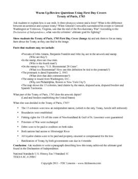 Treaty of Paris, 1783 Warm Up/Review Lesson