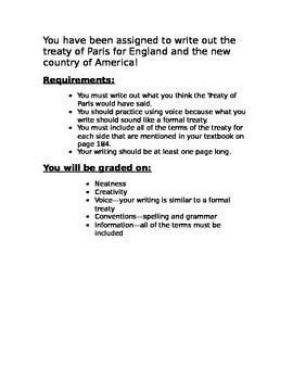 Treaty of Paris Assignment