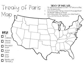 Treaty of Paris Map - End of the American Revolution
