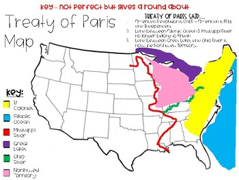 Treaty of Paris Map   End of the American Revolution by Samantha H