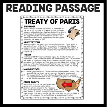 Treaty of Paris Reading Comprehension Worksheet; American Revolution