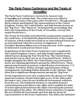 Treaty of Versailles Article with Summary Assignment