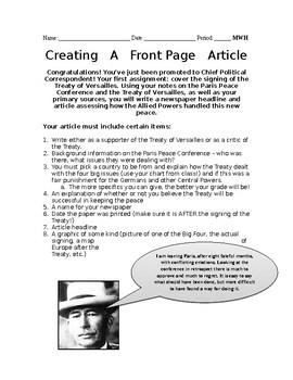 Treaty of Versailles Editorial Project