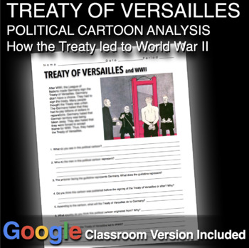 Treaty of Versailles Political Cartoon Analysis for World War 1 or World War 2