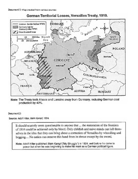 Treaty of Versailles & WW2 DBQ (w/ Reading Questions)