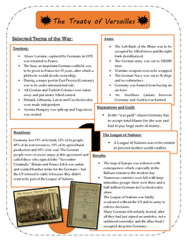 Treaty of Versailles and Wilson's 14 Points