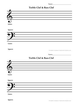 Treble & Bass Clef Intro Half Sheet