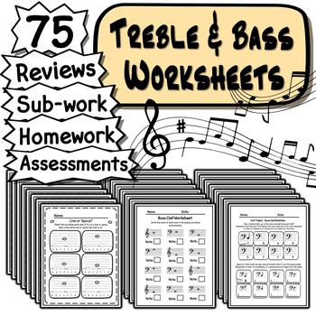 Treble & Bass Clef Worksheets - 64 Tests Quizzes Homework Reviews or Sub Work!
