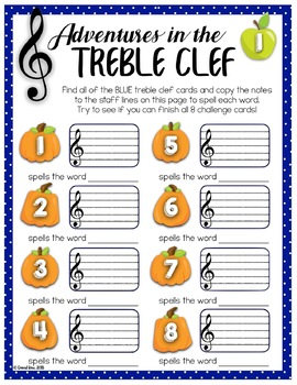 Treble Clef Adventure Pack for Small Groups or Centers- Halloween Edition