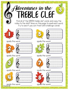 Treble Clef Adventure Pack for Small Groups or Centers- Thanksgiving Edition