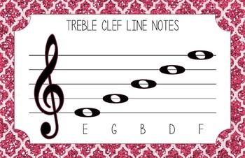 Treble Clef Anchor Charts: Glitter Style
