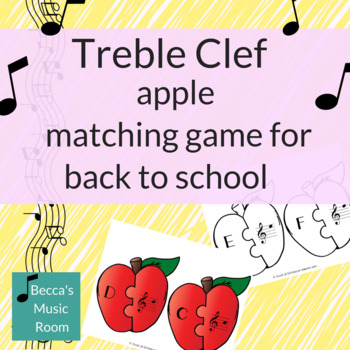 Treble Clef Apple Matching Game for Back to School Music Review
