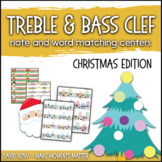 Treble Clef & Bass Clef Note Matching Centers - Christmas Edition