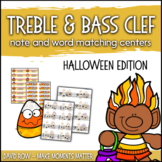 Treble Clef & Bass Clef Note Matching Centers - Halloween Candy Corn Edition