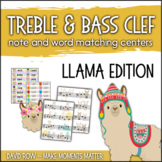 Treble Clef & Bass Clef Note Matching Centers - Llama Edition