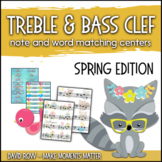Treble Clef & Bass Clef Note Matching Centers - Spring Edition