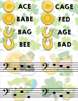 Treble Clef & Bass Clef Note Matching Centers - St. Patrick's Day Edition