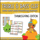 Treble Clef & Bass Clef Note Matching Centers - Thanksgivi